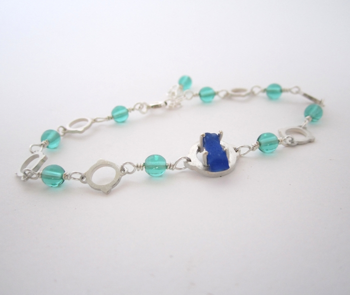 blue seaglass, glass beads and silver