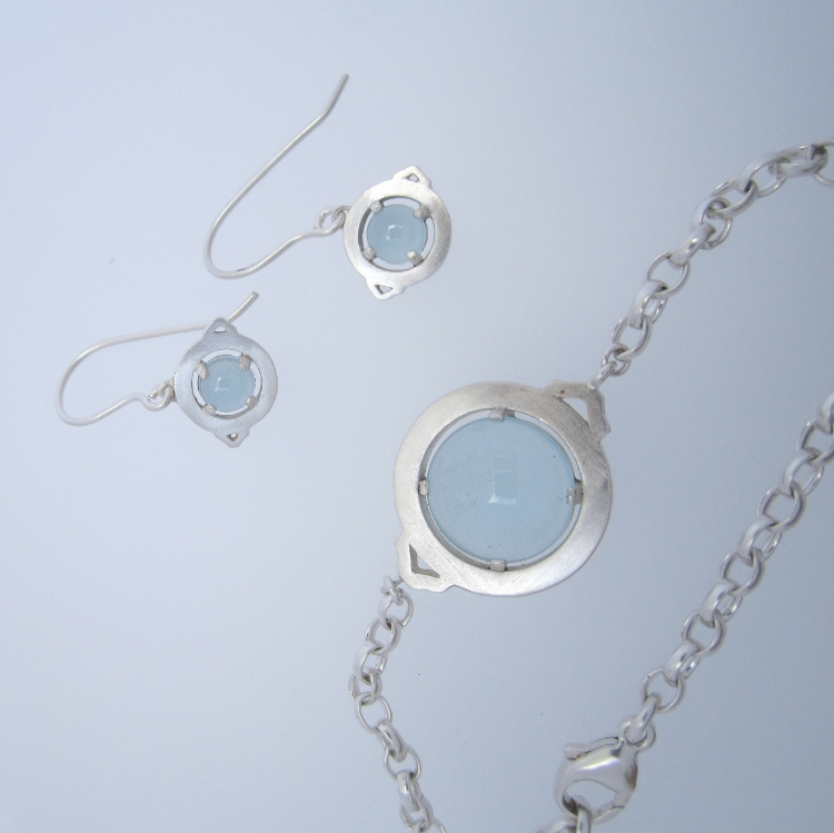 Milky aquamarine and silver