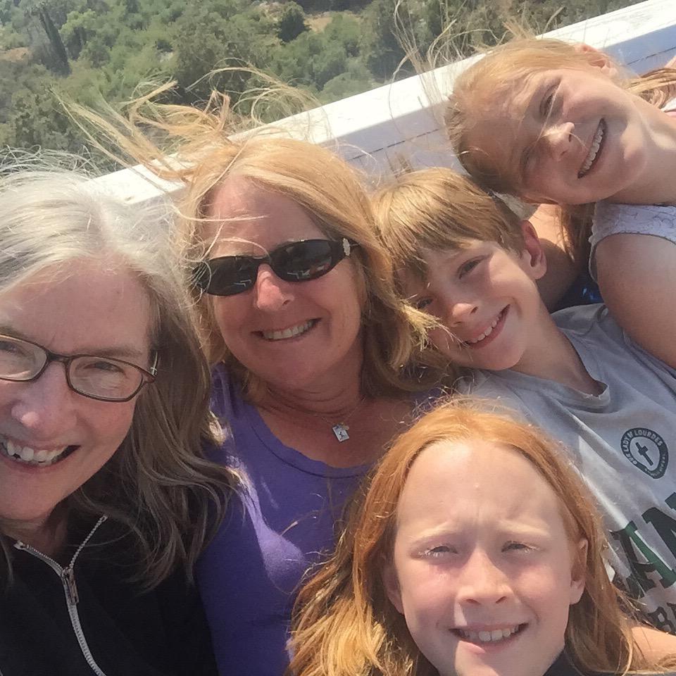 Sam, Sadie, Annie, Tobin, and Sam's old babysitter