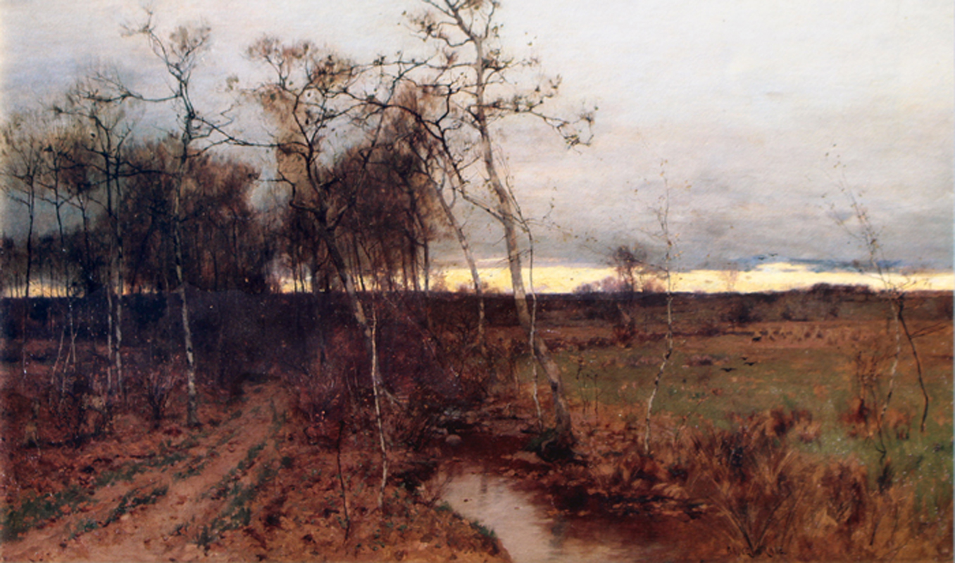 """Bruce Crane, The Waning Year, 1884. Oil on canvas, 42 x 72""""."""