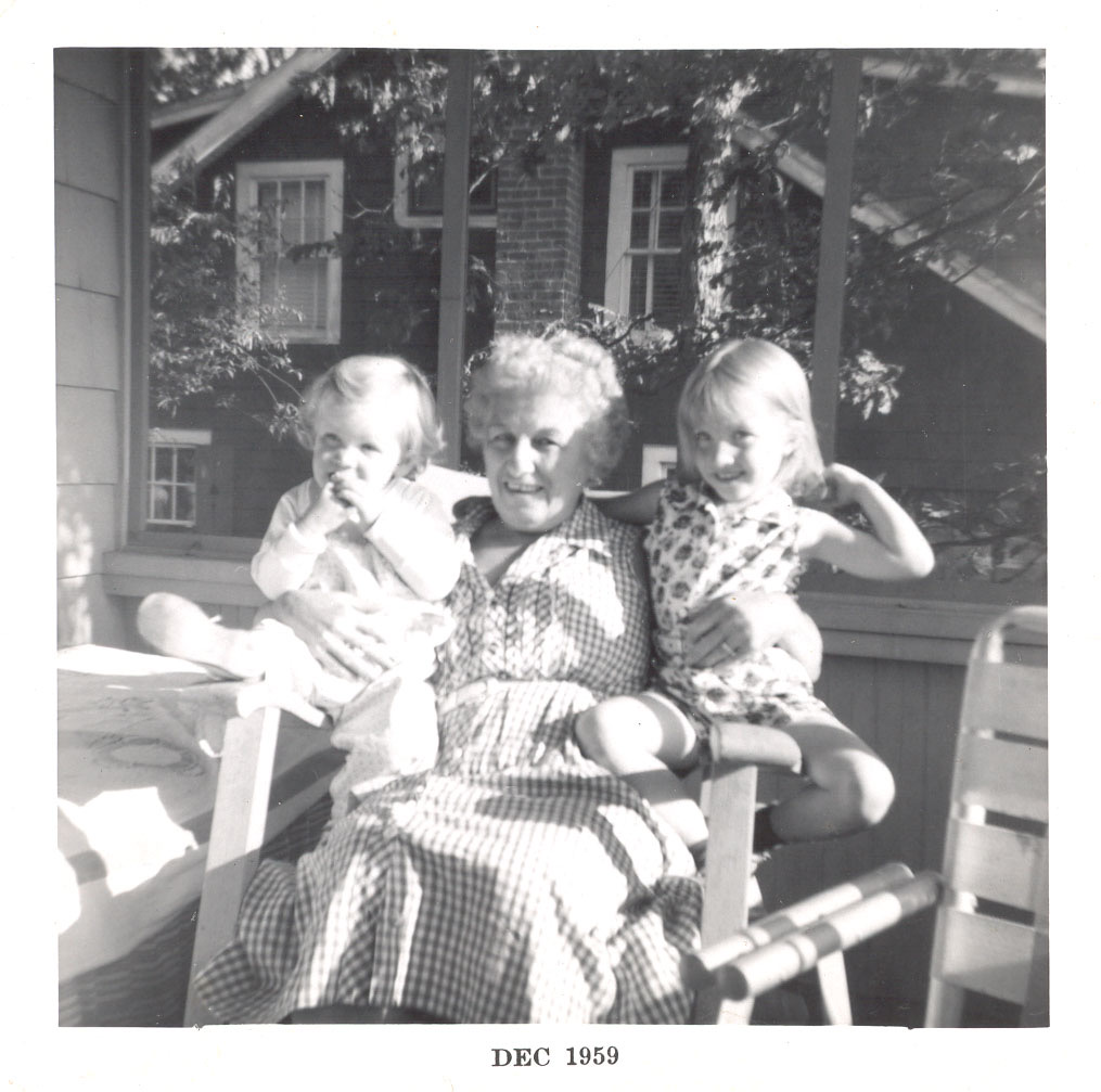 from L-R: middle sister, Mim, older sister, on the porch at Hubbard's Point. Our youngest sister wasn't with us yet;she was born the next January.