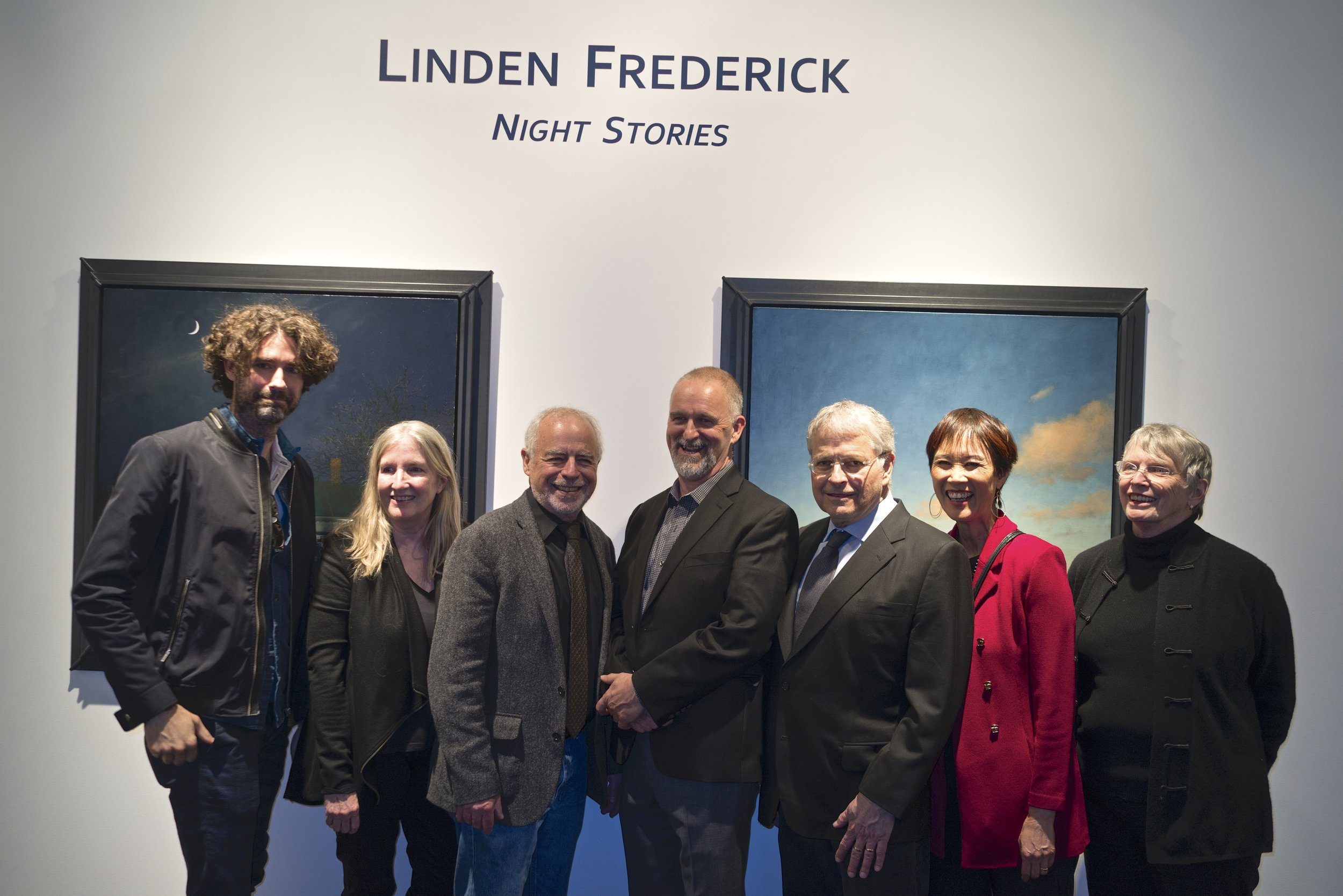Linden with some of the writers who contributed to the book.  L-R: Joshua Ferris, me, Richard Russo, Linden Frederick, Lawrence Kasdan, Tess Gerritsen, Lois Lowry (photo by Jacob Gerritsen)