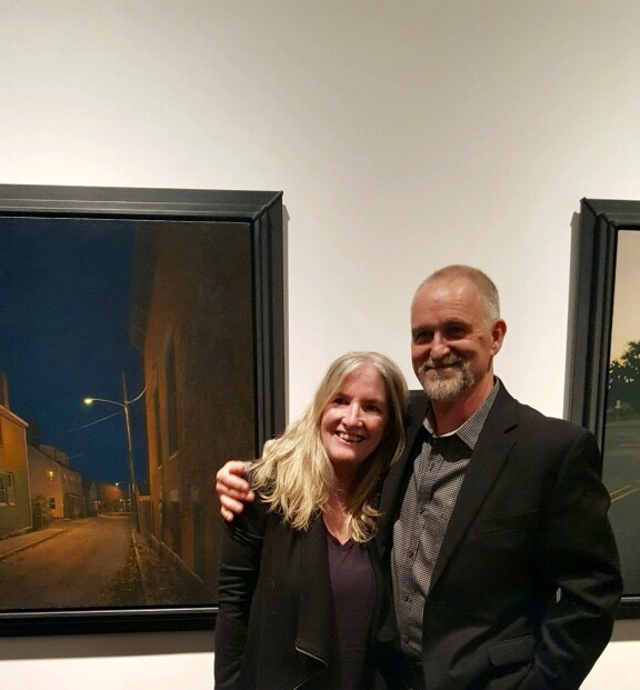"With Linden in front of  Night Off , the painting that inspired by short story ""Alley's End"""