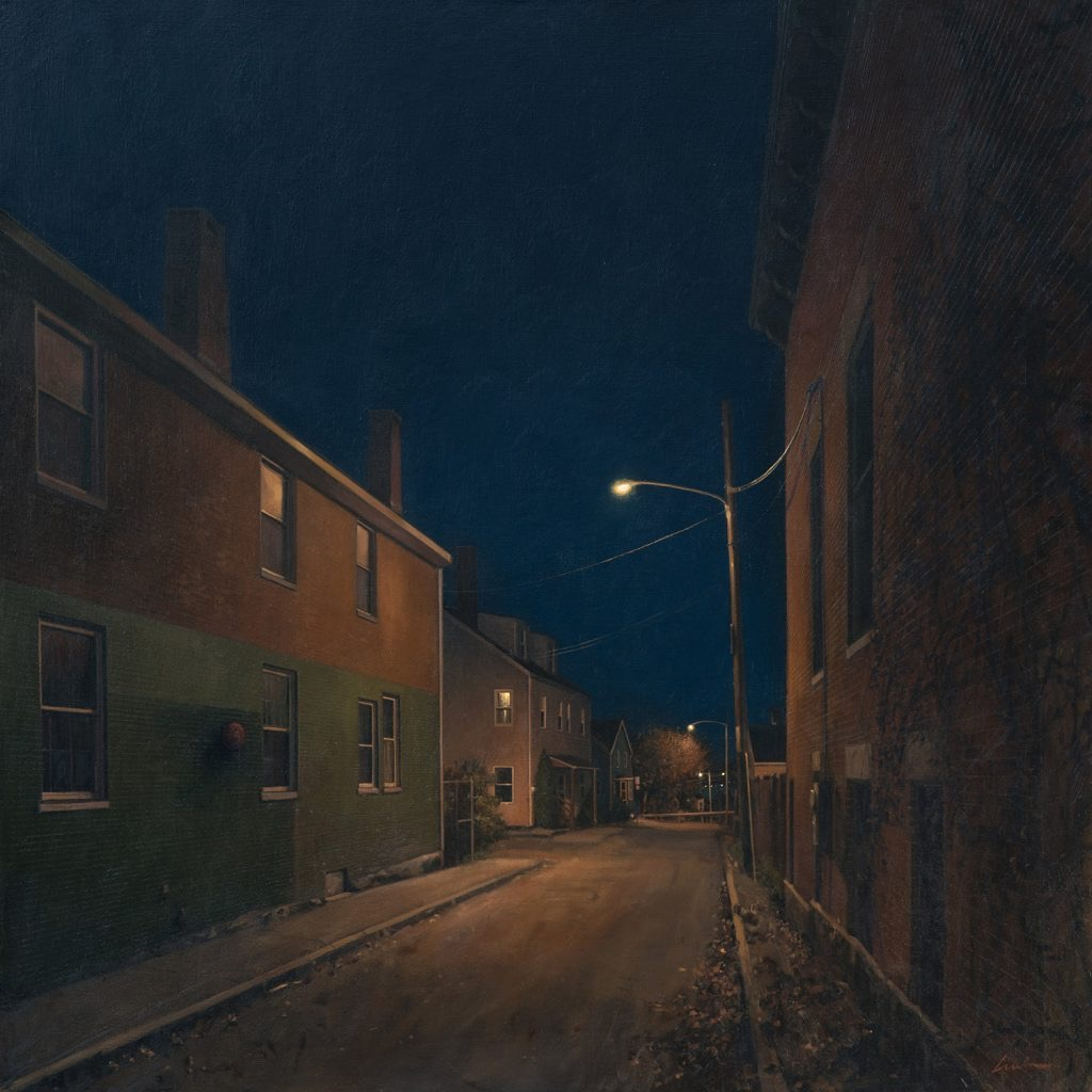 "Night Off , oil on linen 36 x 36.  During his artist talk, Linden said that our conversations after I saw the study inspired him to add a barrier at the end of the road, making it an alley (I had titled my story ""Alley's End."")  ""A true collaboration,"" he said, and I felt so honored."