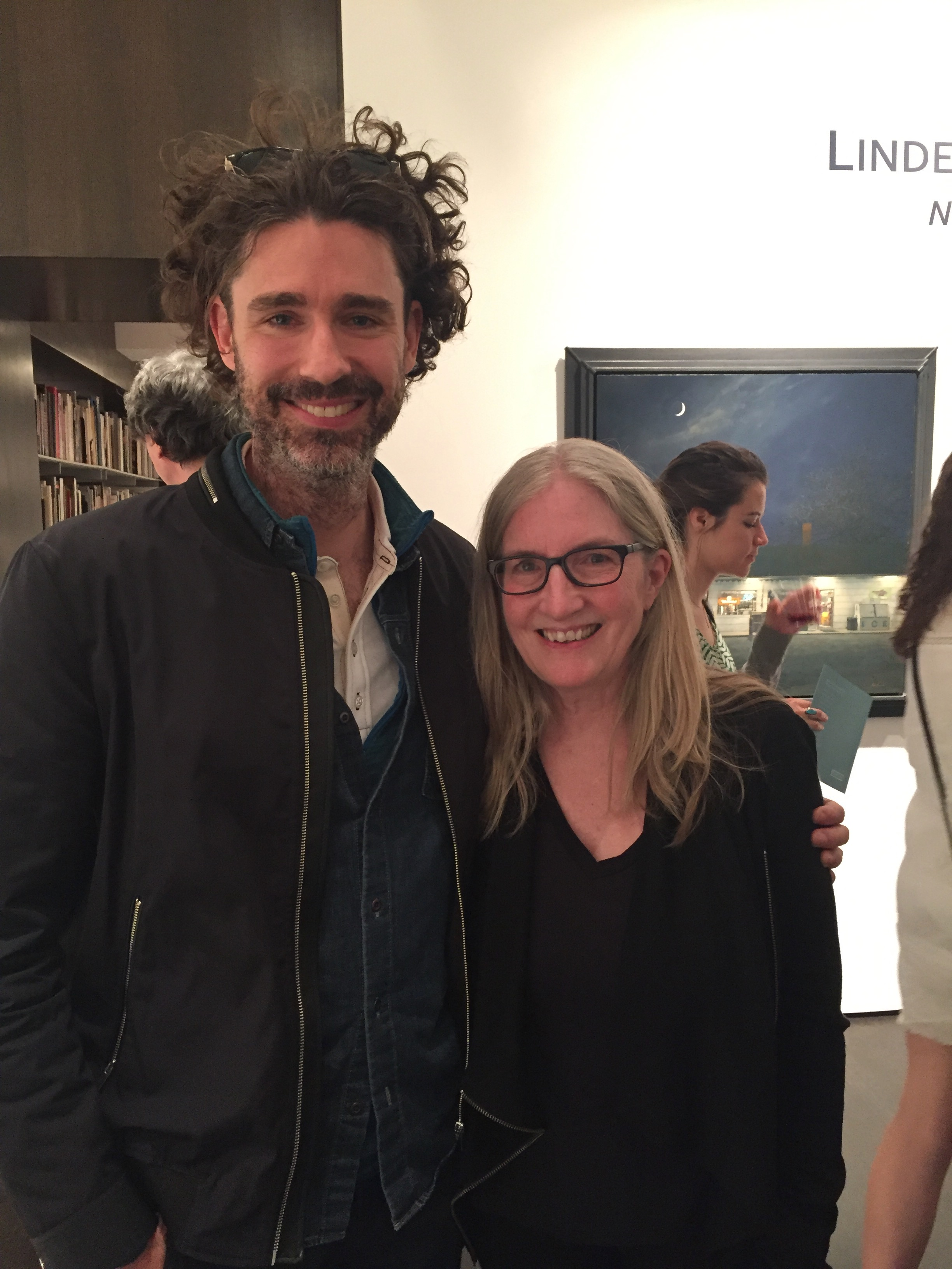 With Joshua Ferris, Linden's painting  Police  in the background, photo by Aimee Friedman