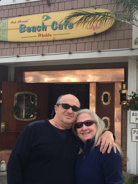 Maureen and Olivier at Paradise Cove--a winter visit, the year after the sunscreen episode.