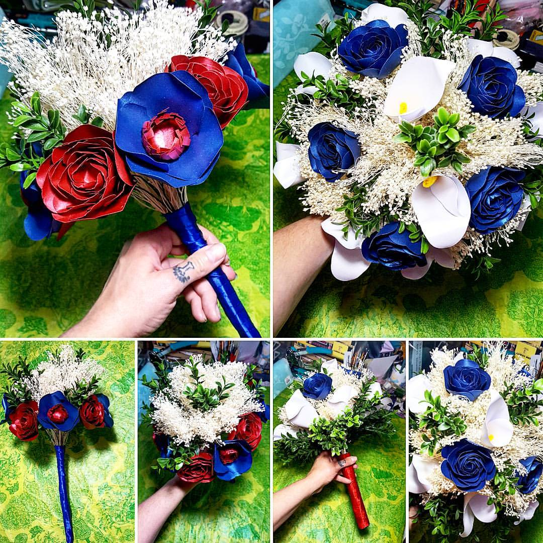 blue and red paper flower bouquet