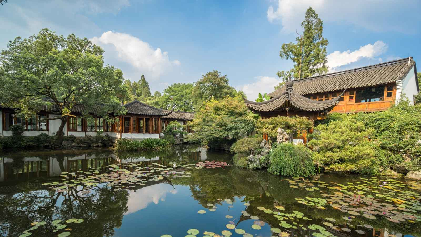 "Hangzhou  – The ""West Lake"" is undoubtedly the most renowned landmark, noted for the scenic beauty that blends naturally with many famous historical and cultural sites. We will see large patches of lotus blooms and leaves that seemingly stretch to the horizon. The beautiful West Lake has inspired many famous artists, poets, and writers. Hangzhou grows some of China's finest Longing Tea (green tea) which is renowned throughout China. We will visit the Longing Imperial Garden to experience the regions tea culture."