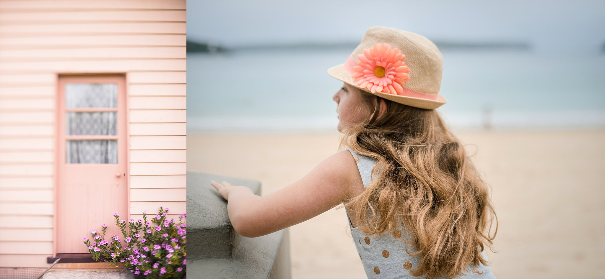 Diptych of still life and portrait of a girl at a beach in blues and apricots by Sydney Lifestyle photographer, Cindy Cavanagh