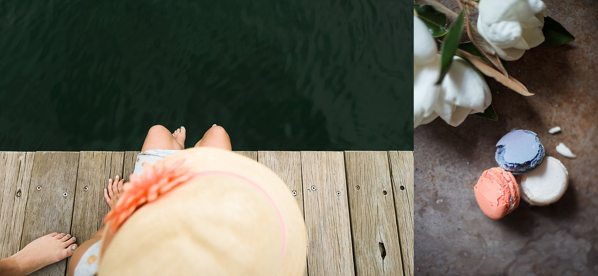 Diptych of a girl on the boardwalk at Balmoral and macaroons in orange and green colours by Lifestyle photographer, Cindy Cavanagh