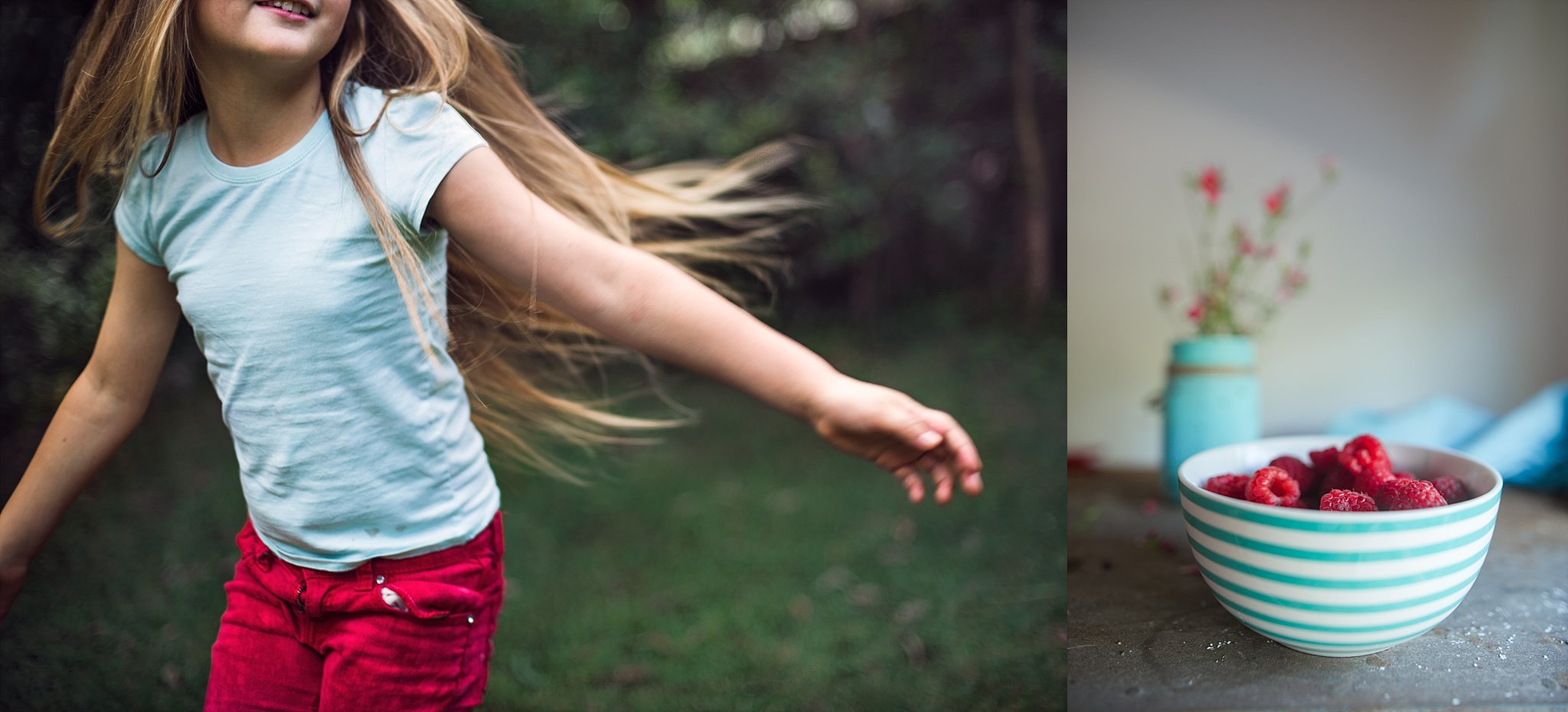 A diptych celebrating red and aqua with still life and portrait of a girl spinning by Hills District Photographer, Cindy Cavanagh