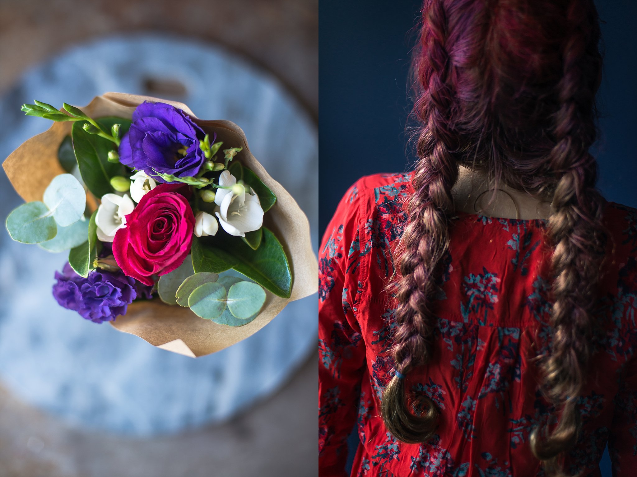 A diptych of flowers and a girl with coloured plaits.