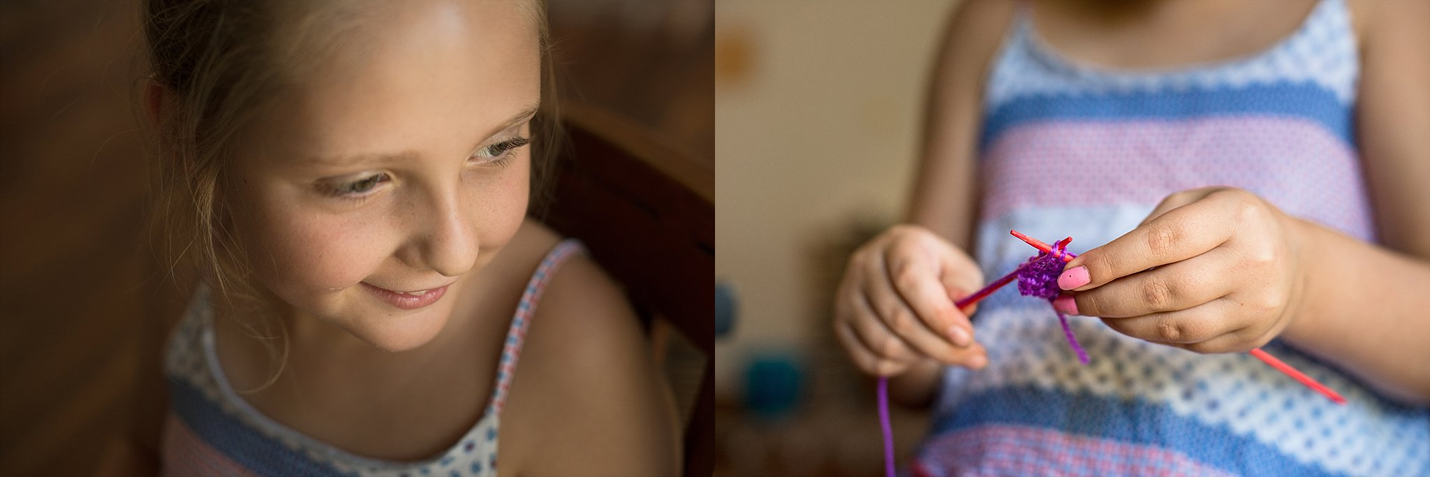 A girl learning to knit by lifestyle photographer in Sydney, Cindy Cavanagh