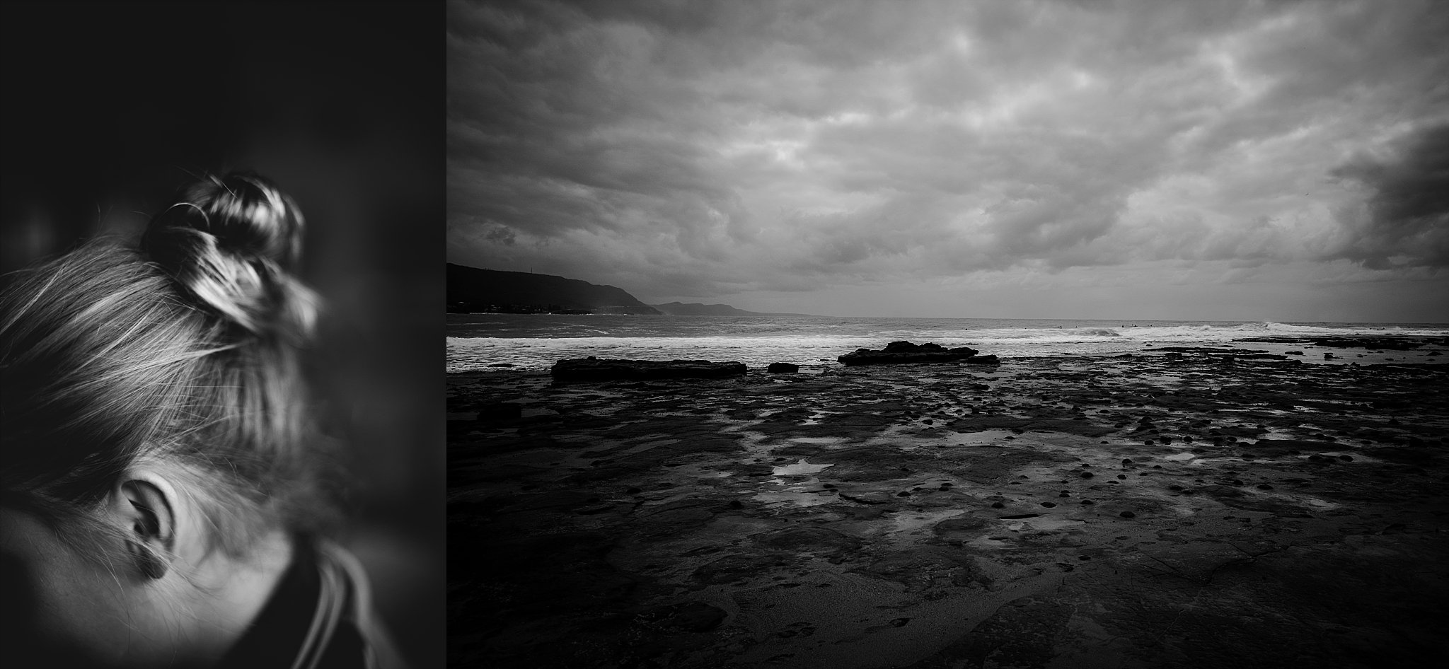 A diptych of a messy bun and ocean in black and white by Cindy Cavanagh