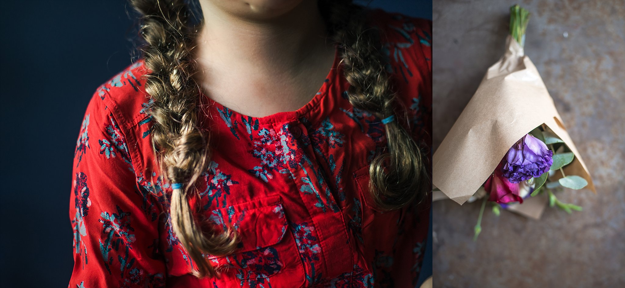 A diptych of girl with plaits and a bunch of flowers.