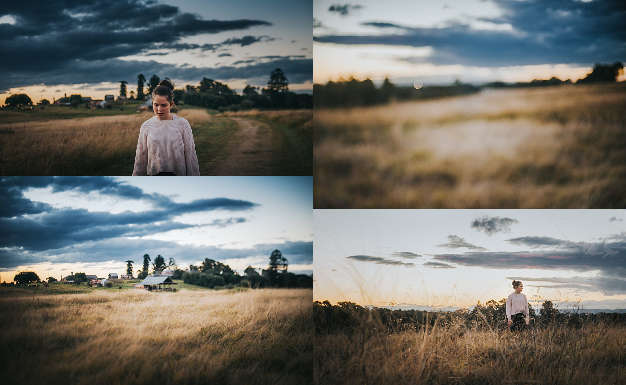 A collage of lifestyle portraits captured at sunset in Rouse Hill, Sydney.