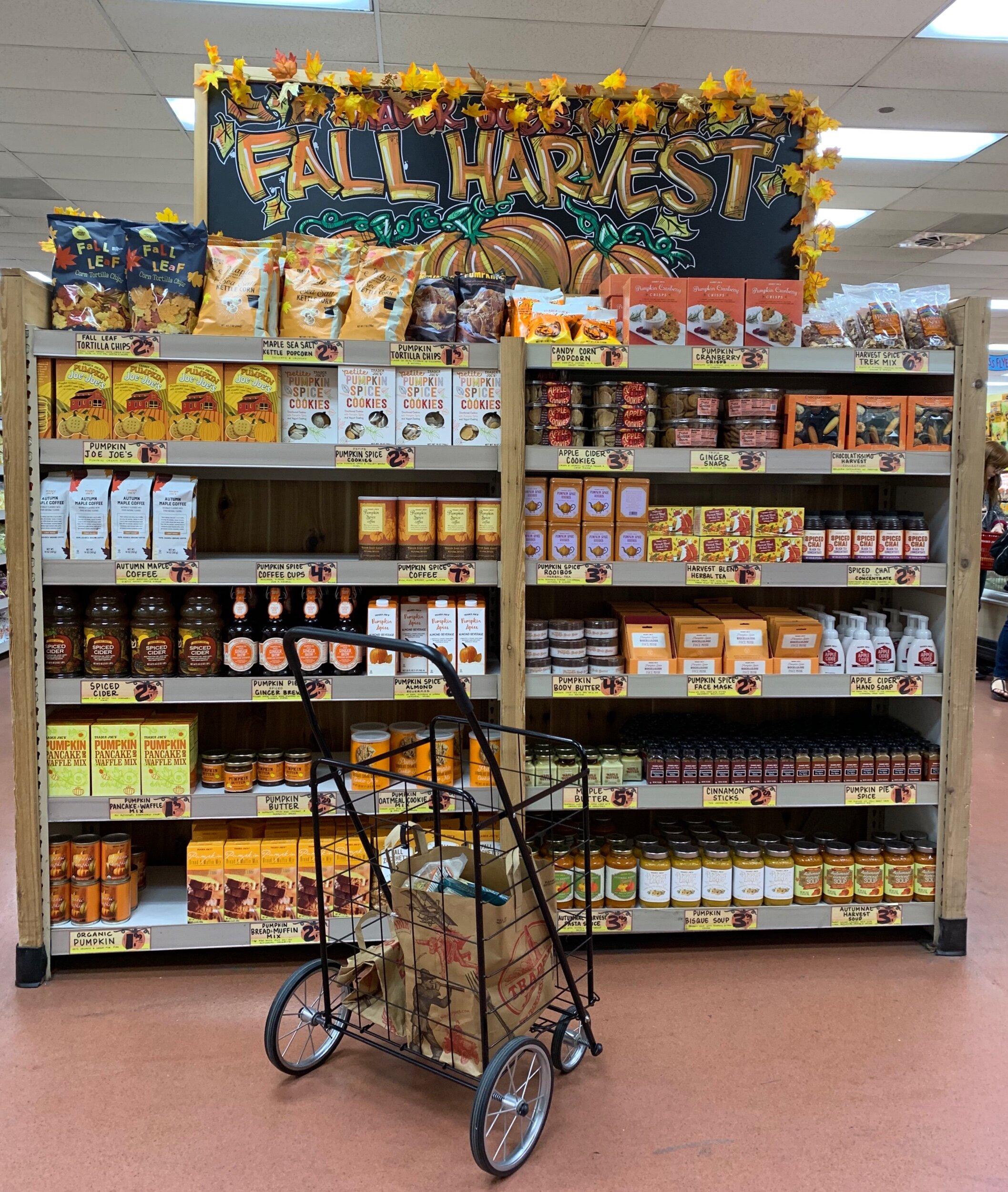 The Pumpkin Spice section at Trader Joe's