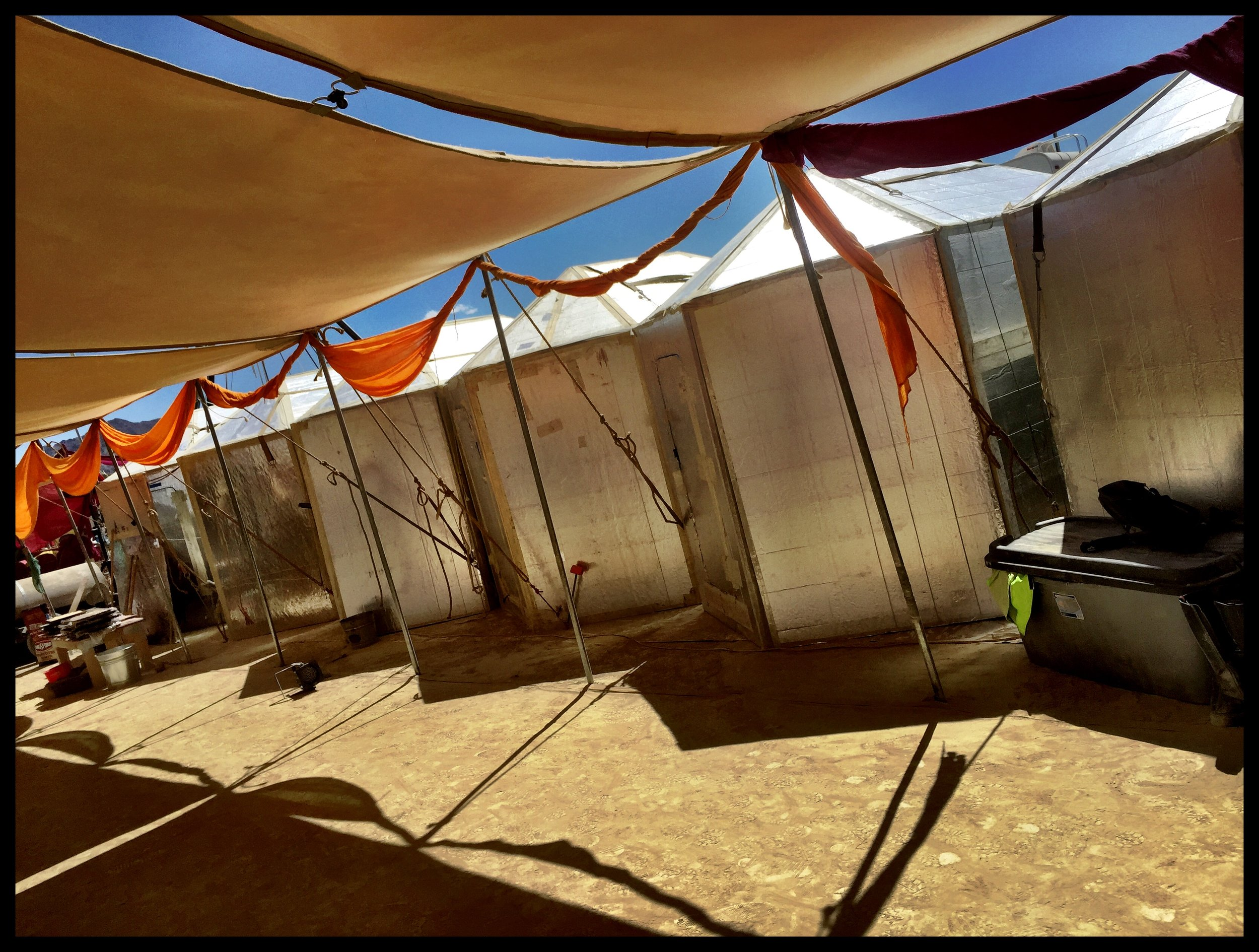 Nestled in yurts create perfect wind/dust break for our communal area