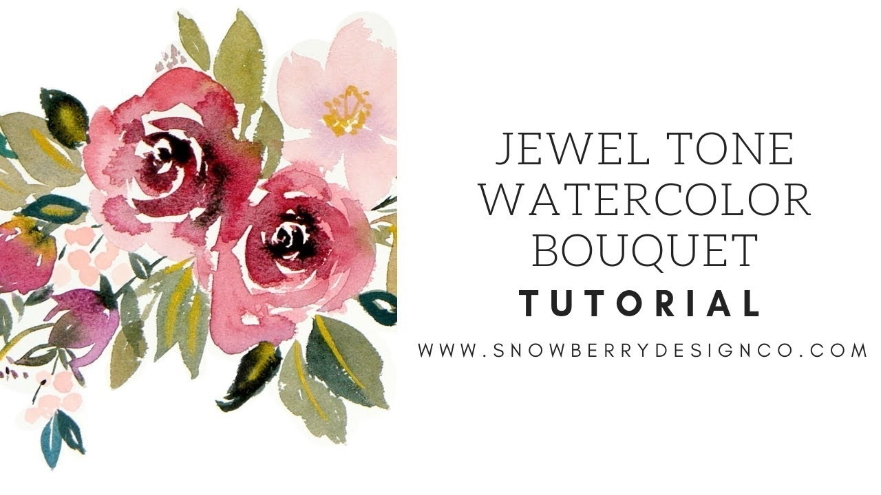 jewel+tone+watercolor+rose+bouquet+with+gold+and+blush