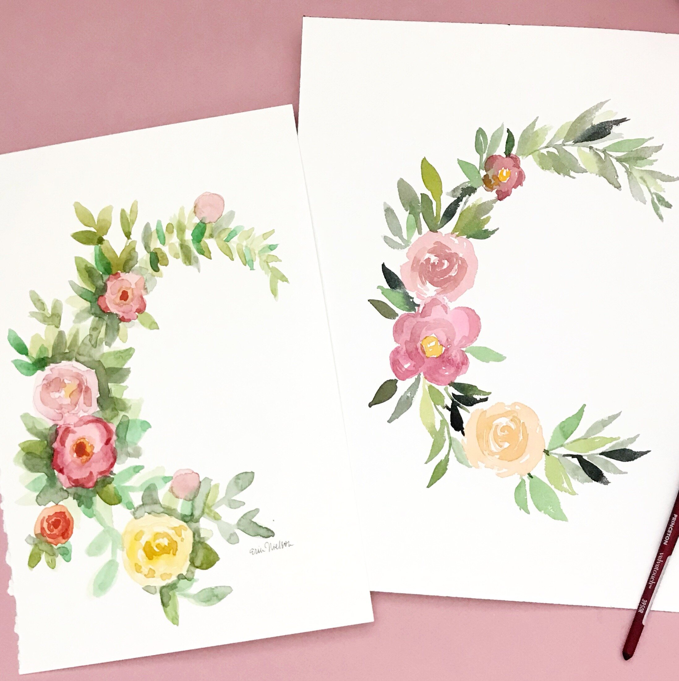 The blobby flowers on the left? That's where I started! The flowers on the right? That's how I'm painting now, and I'll show you how, too!