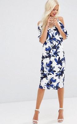ASOS   Blue Floral Cold Shoulder Dress   $97.00