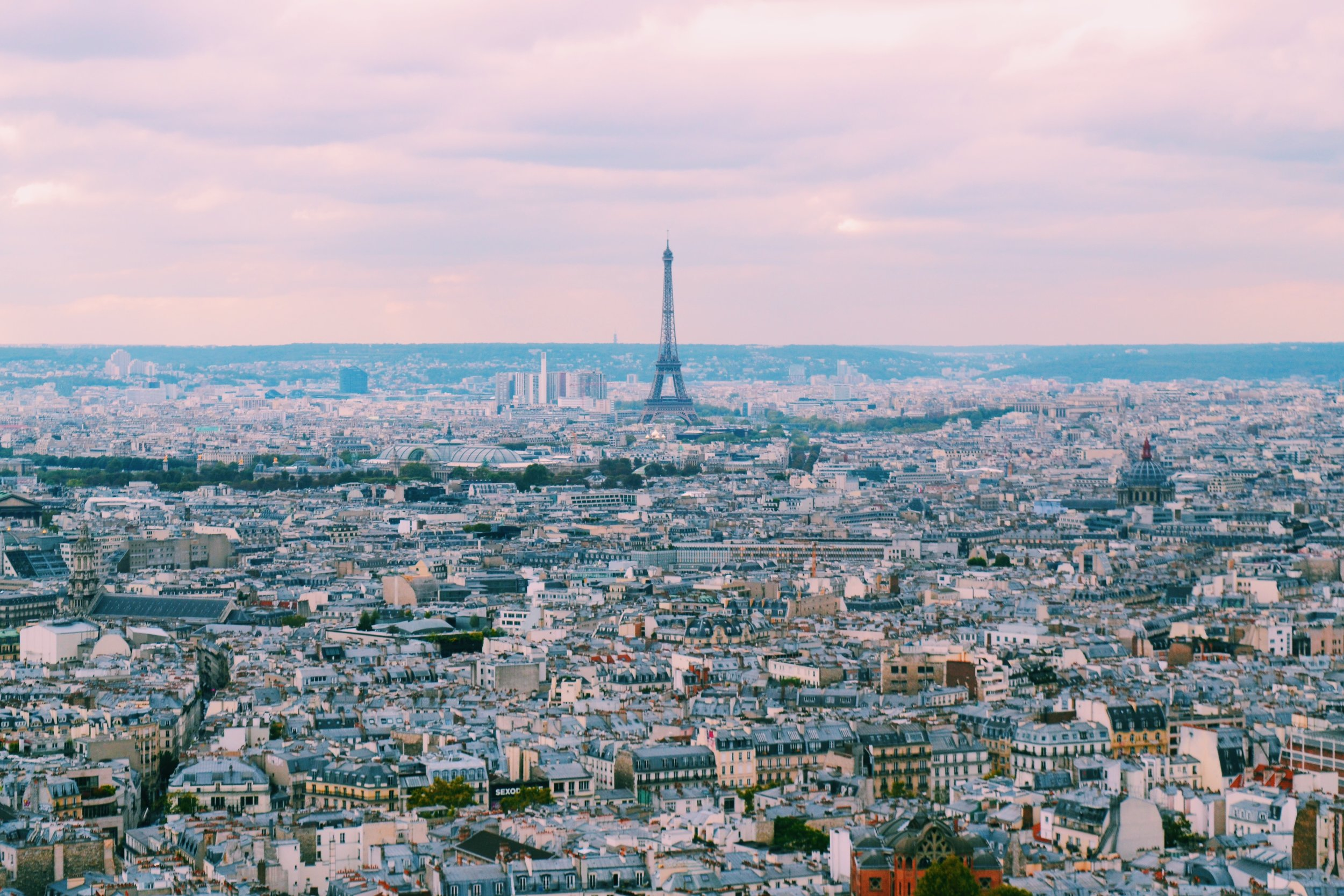 view of eiffel tower from sacre coeur dome