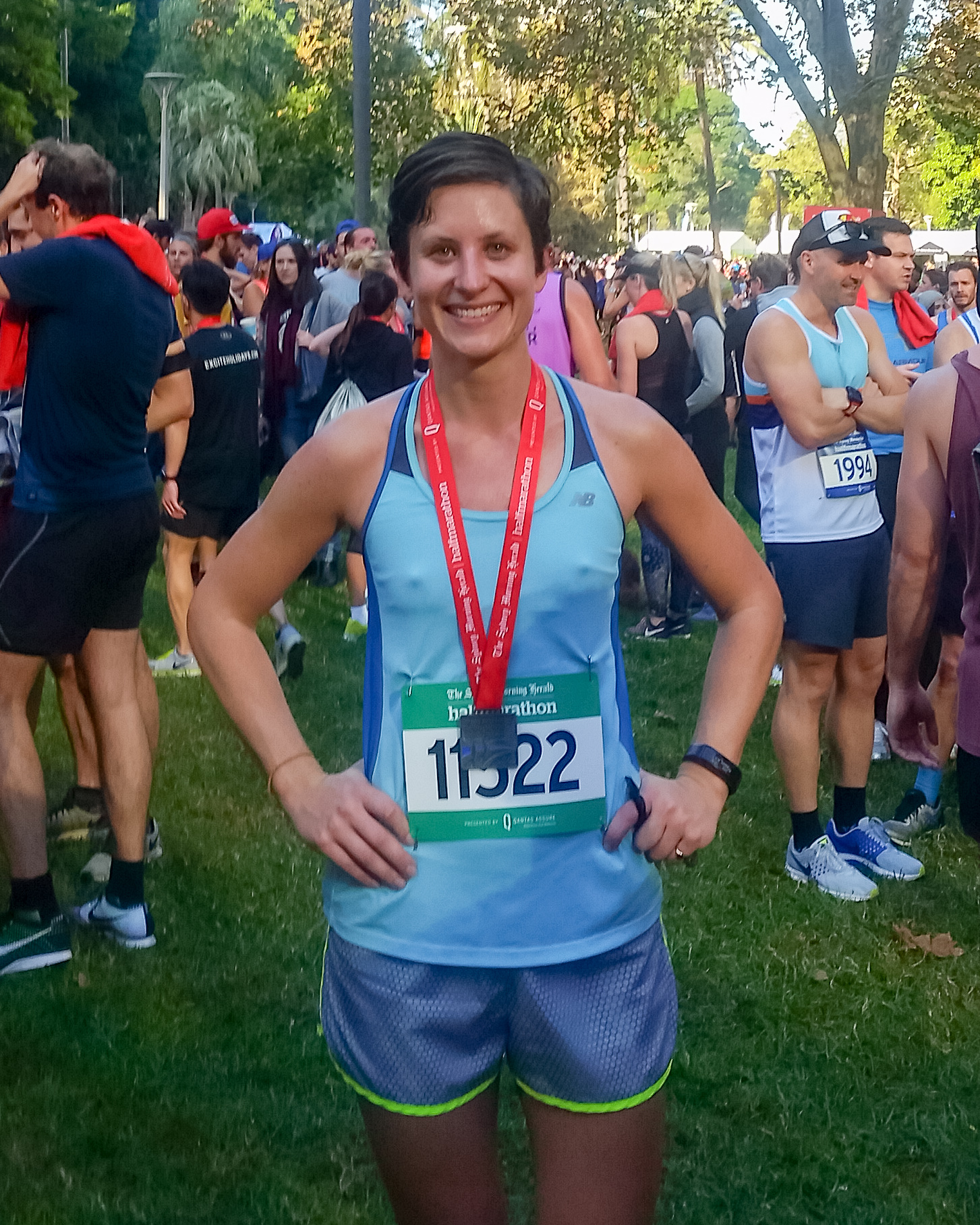 All smiles after running a new PB for the Sydney Morning Herald Half Marathon, May 2017.
