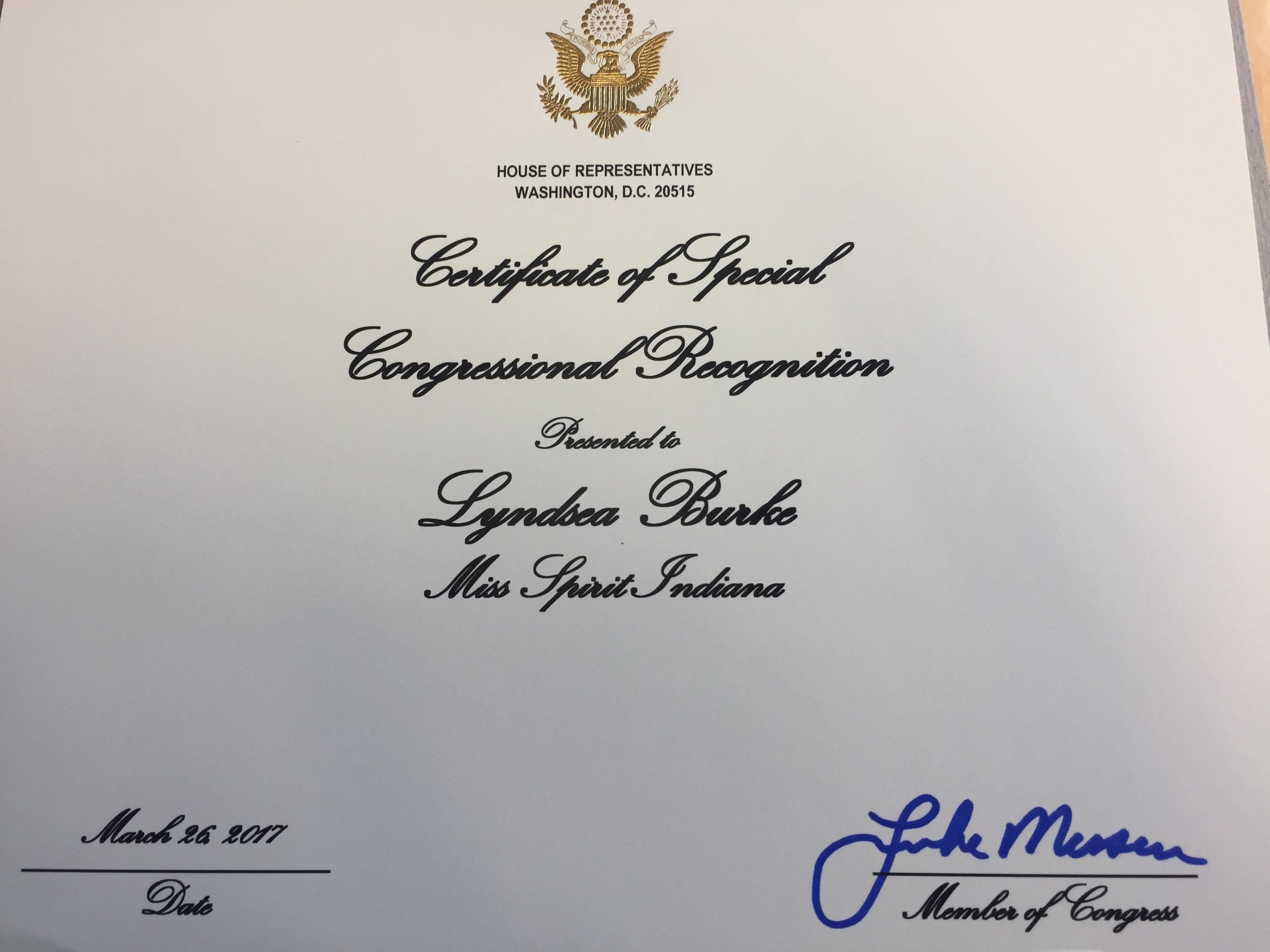 My certificate of Congressional Recognition. So humbled to have received this from Rep.Luke Messer!