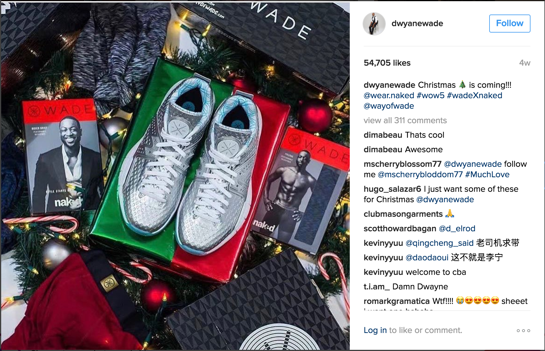 Dwyane Wade IG for Way Of Wade Christmas Collection