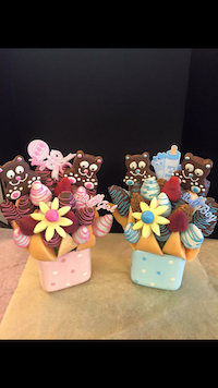 Welcome To The World  A great treat for mom to share, cantaloupe, strawberries and apples in milk chocolate and accents of blues or pinks, two pineapple bears for a girl or boy.  $50/$60/$70   Send Request
