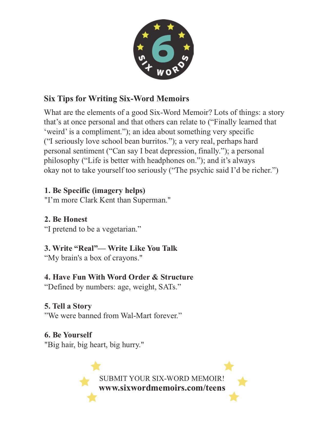 Six Tips for Writing Six-Word Memoirs - teens.jpg