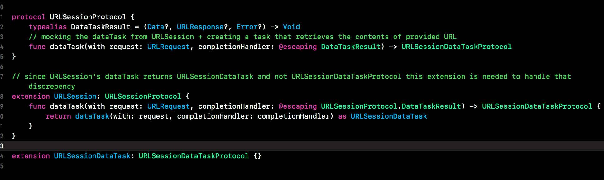 continuation of the code above to show why URLSessionDataTask is able to return URLSessionDataTaskProtocol