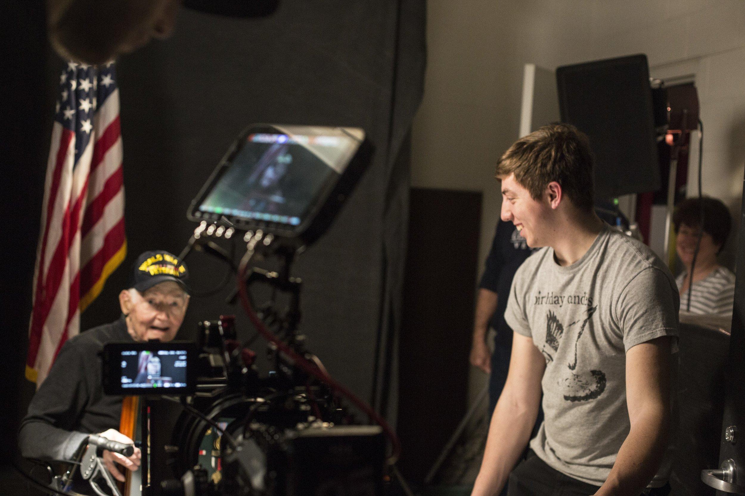 Video shoot with a World War 2 veteran, for the final multimedia scene of  Modern Warrior .
