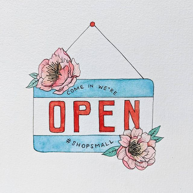 I created this illustration for small business month at the design studio I work at in Washougal @reedcreative. I love working for a small business where I have the opportunity to work on a range of projects for other small local businesses. Don't forget to support your local business this month and always, because the people you support appreciate it more than you know! #shopsmall #community #supportlocal  #watercolor #illustration #ink #botanical #smallbusiness #open #storefront #sign #type #lettering #typography #makersgonnamake #instaart