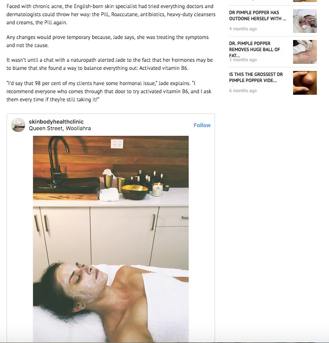 """""""I'd say that 98 per cent... - of my clients have some hormonal issue,"""" Jade explains. """"I recommend everyone who comes through that door to try activated vitamin B6, and I ask them every time if they're still taking it!"""""""