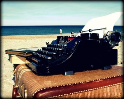 Karen Cox   ©  - typewriter on beach vignette