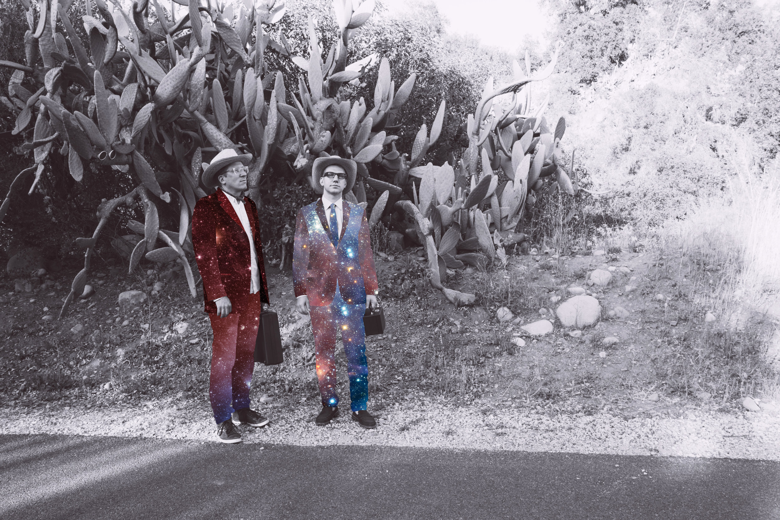 Quindar: Mikael Jorgensen & James Merle Thomas.  Photo by  Chad Ress , Spacesuits by  Cassandra C. Jones