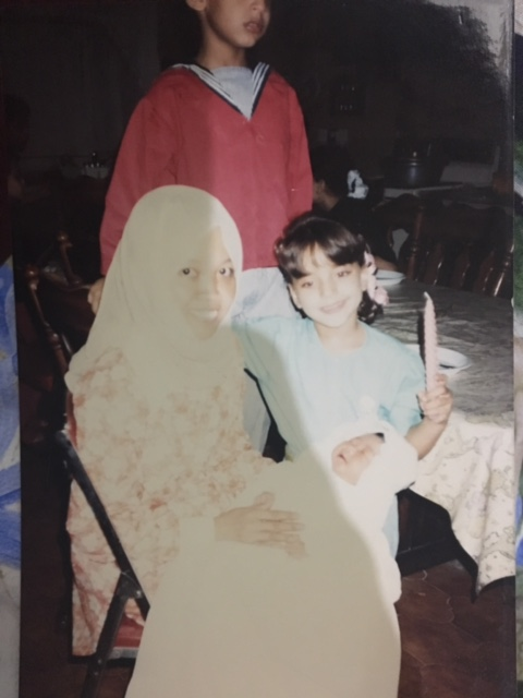 This was me with my cousin's nanny at someone's party...Aminah kept this picture of me and showed it to me when I visited her in Java.