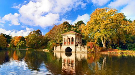 The roman boathouse at birkenhead in the wirral, usually acknowledged as the world's first publicly funded civic park, the times/alamy photos.