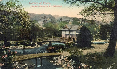 POSTCARD SHOWING THE 'GARDEN OF PEACE, JAPAN-BRITISH EXHIBITION'.