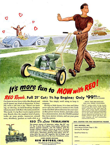 1950s Reo Mower advert 'Go Away Girls'