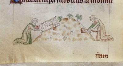 Inserting the Ferret, Queen Mary's Psalter, f.155v, BL.