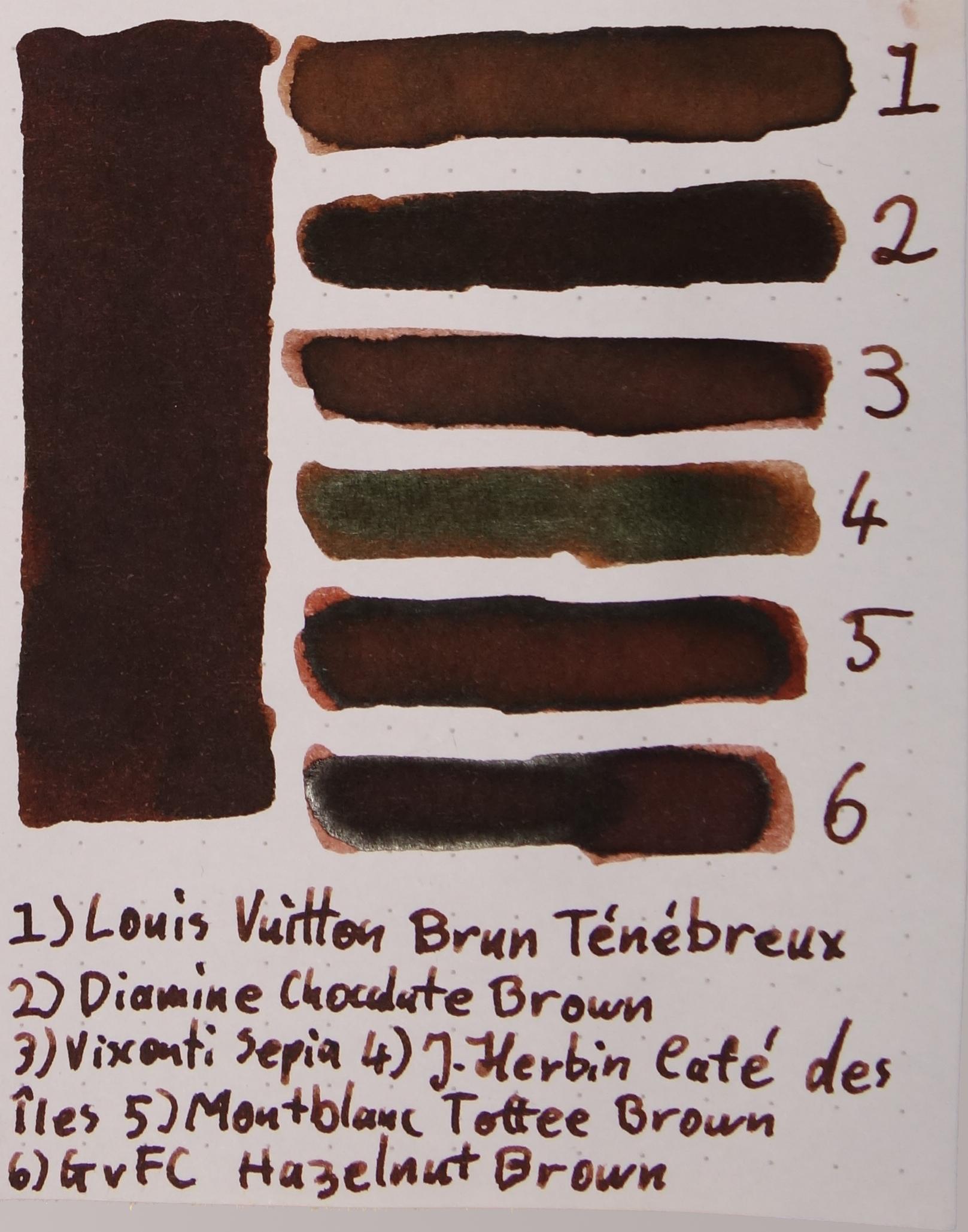 1) Louis Vuitton Brun Ténébreux, 2) Diamine Chocolate Brown, 3) Visconti Sepia, 4) J. Herbin Café des Îles, 5) Montblanc Toffee Brown, 6) Graf von Faber-Castell Hazelnut Brown.