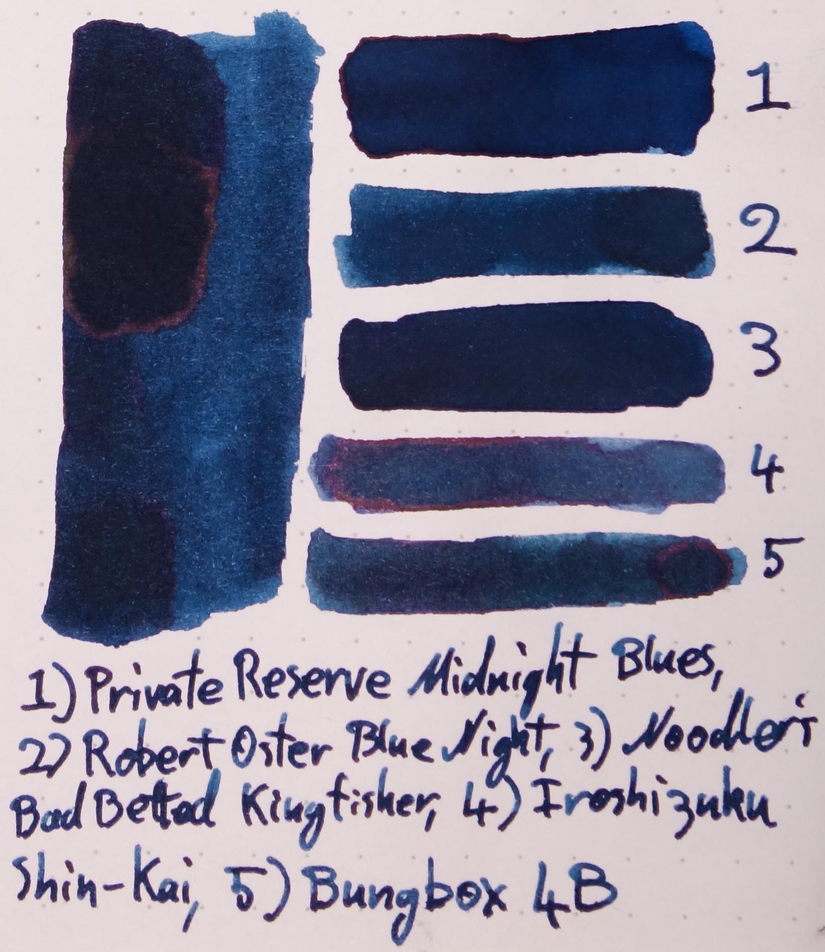 1) Private Reserve Midnight Blues, 2) Robert Oster Blue Night, 3) Noodler's Bad Belted Kingfisher, 4) Iroshizuku Shin-Kai, 5) Bungubox 4B.