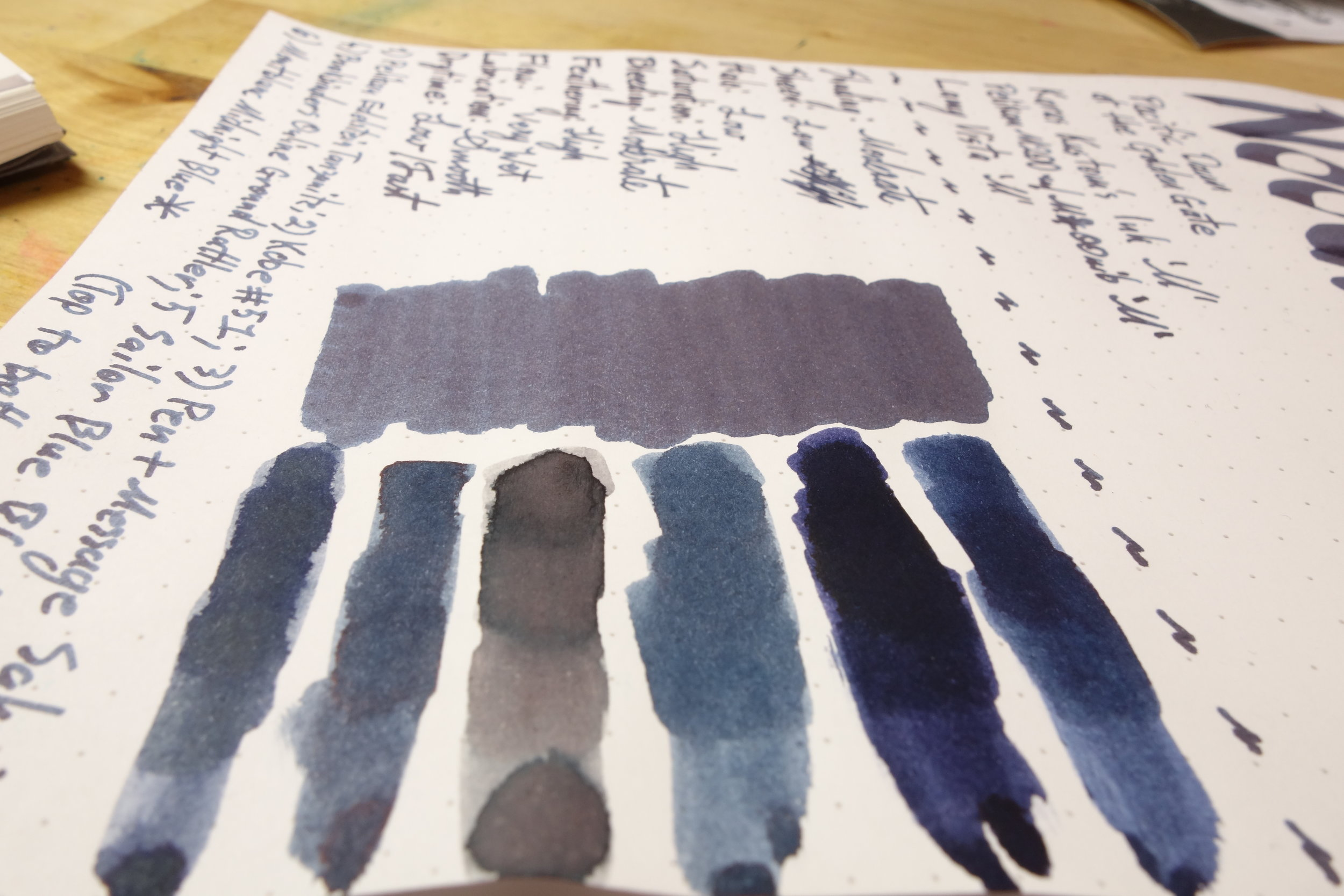 On Rhodia (left to right): 1) Montblanc Midnight Blue*; 2) Sailor Blue Black; 3) Bookbinder's Online Ground Rattler; 4) Pen + Message Saku; 5) Kobe #51 Kano Cho Midnight; and 6) Pelikan Edelstein Tanzanite.  * My sample of this was unlabelled but I do believe this is indeed Montblanc Midnight Blue.