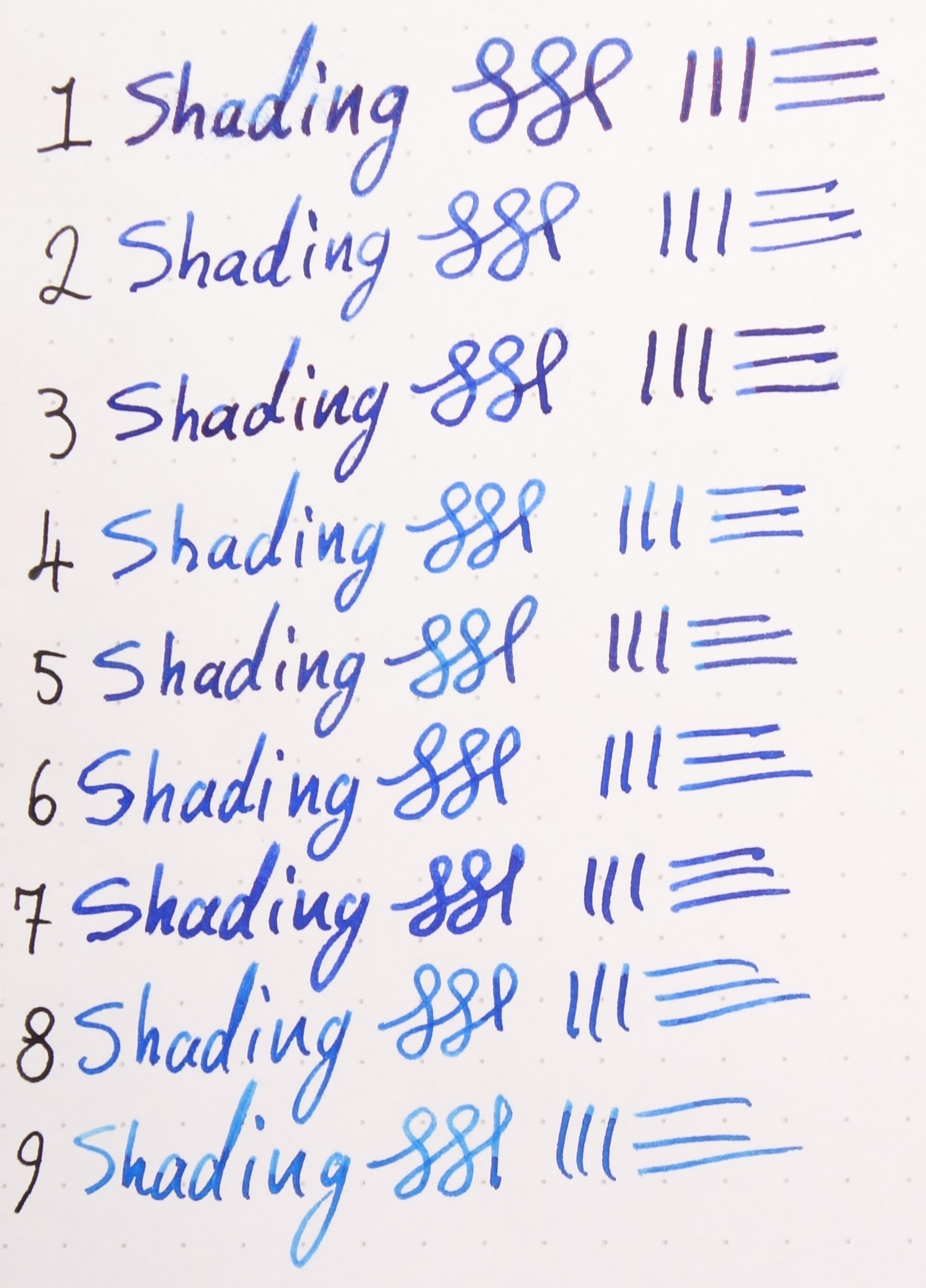 Shading (Numbers Match Tomoe River Swatches)
