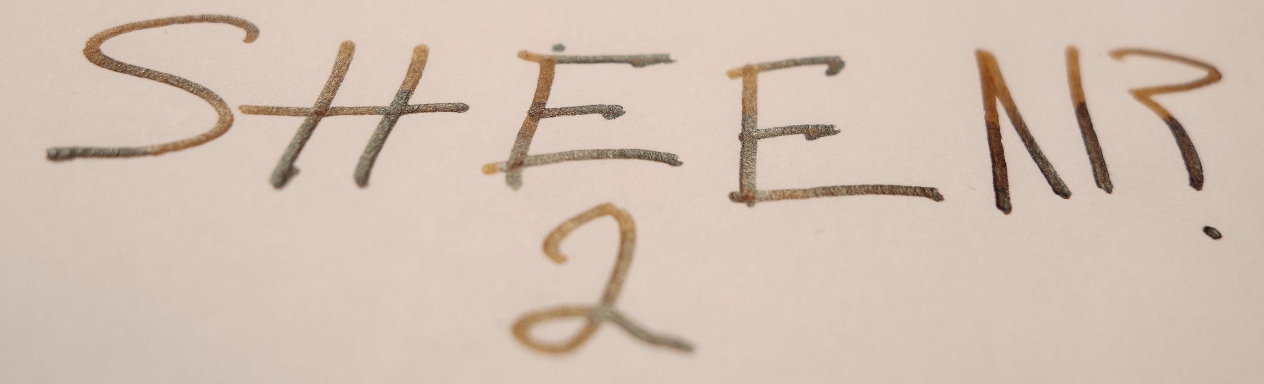 Sheen (left in pen)