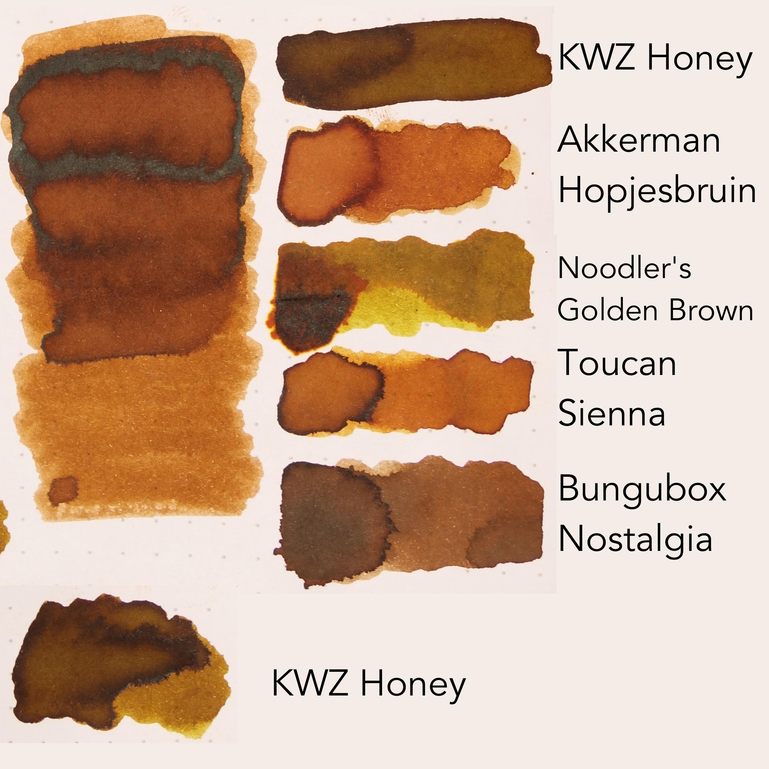 Top to bottom: KWZ Honey, Akkerman Hopjesbruin (or Diamine Sepia). Noodler's Golden Brown, Toucan Sienna,Bungubox Nostalgia and then KWZ Honey again,