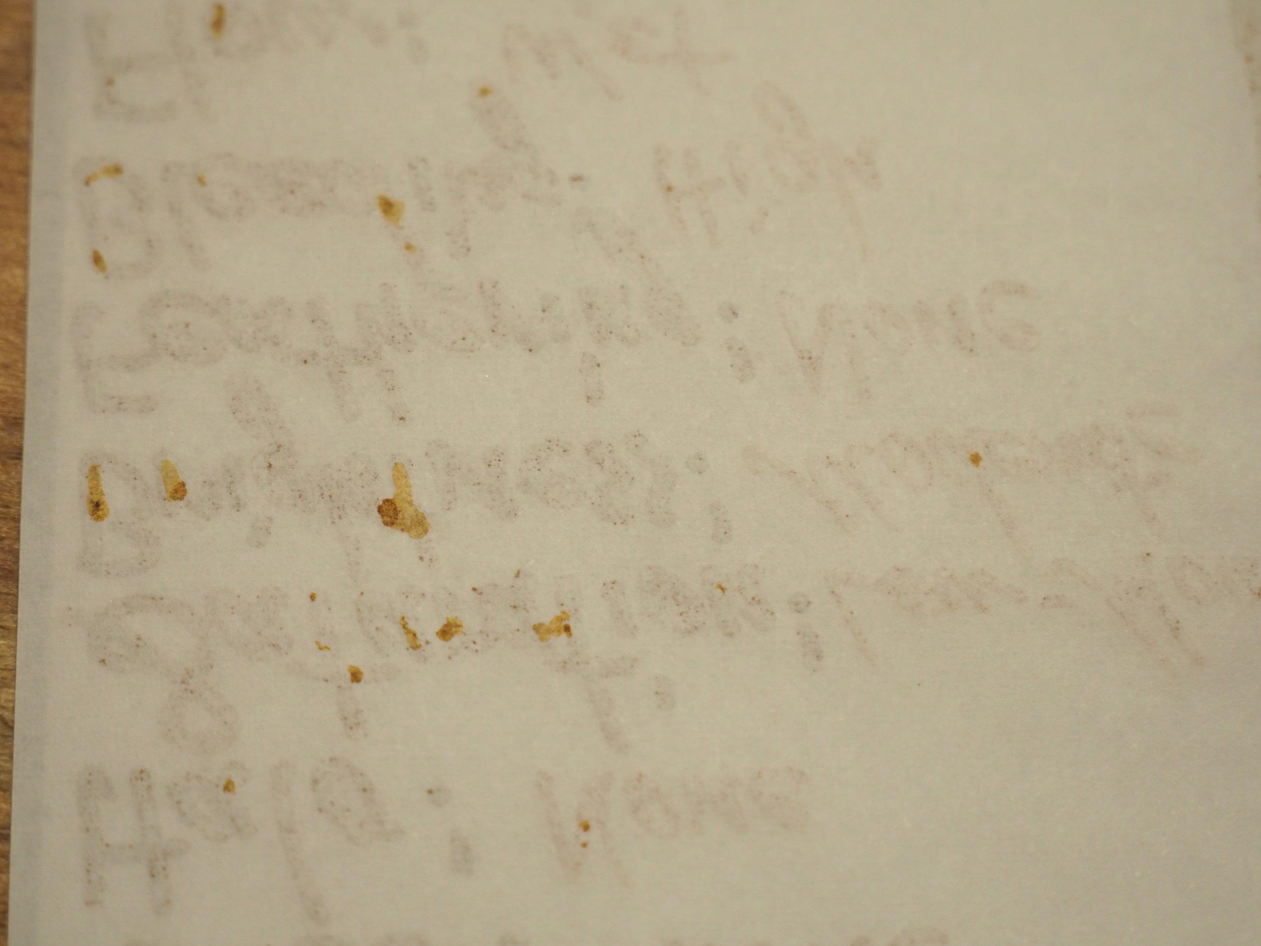 Bleeding (writing) 52gsm TR; back p1