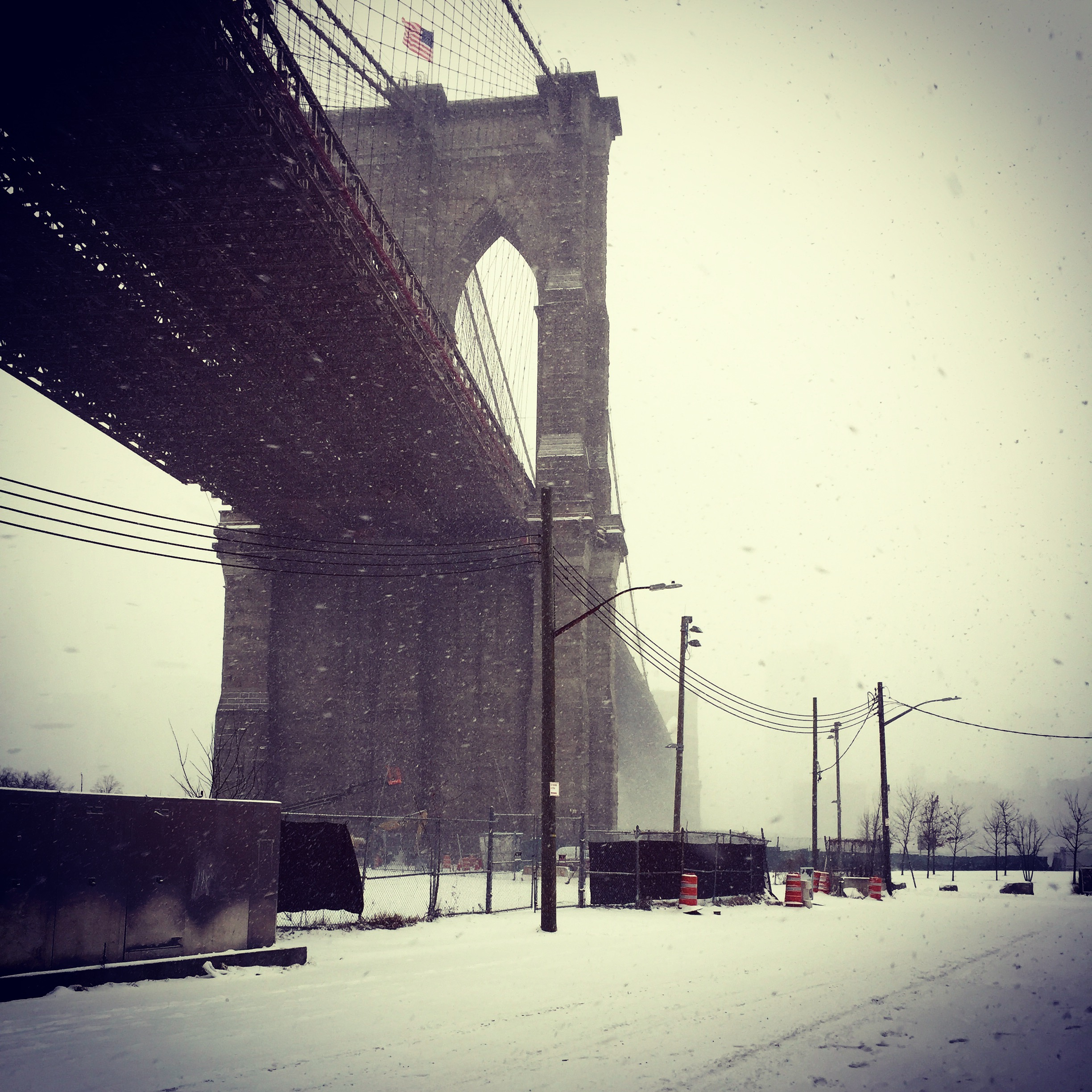 Brooklyn bridge, Snowy, outside St Ann's Warehouse, Jan 2017